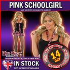 Ladies S Pink Tartan School Girl Skirt & Tie For School Girl Fancy Dress